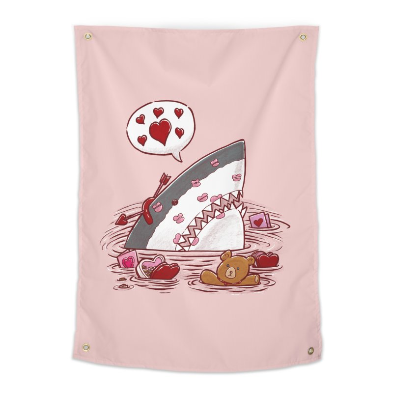 Valentines Day Shark Home Tapestry by nickv47
