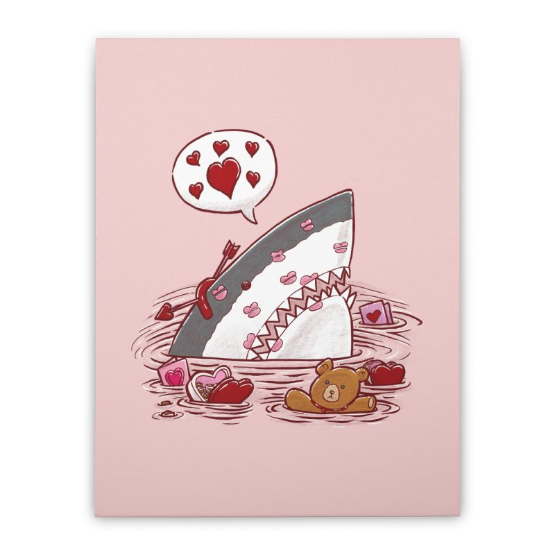 Valentines Day Shark Home Stretched Canvas by nickv47