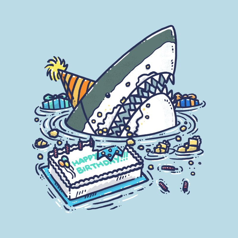 Sheet Cake Destruction Shark Accessories Skateboard by nickv47