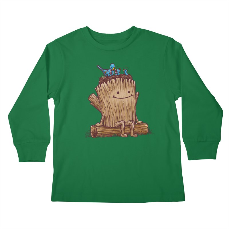 Good Day Log's Bird Nest Kids Longsleeve T-Shirt by nickv47