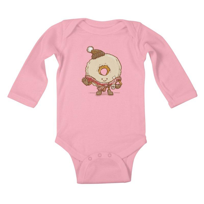 Bacon Scarf Donut Kids Baby Longsleeve Bodysuit by nickv47