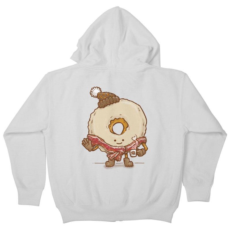 Bacon Scarf Donut Kids Zip-Up Hoody by nickv47