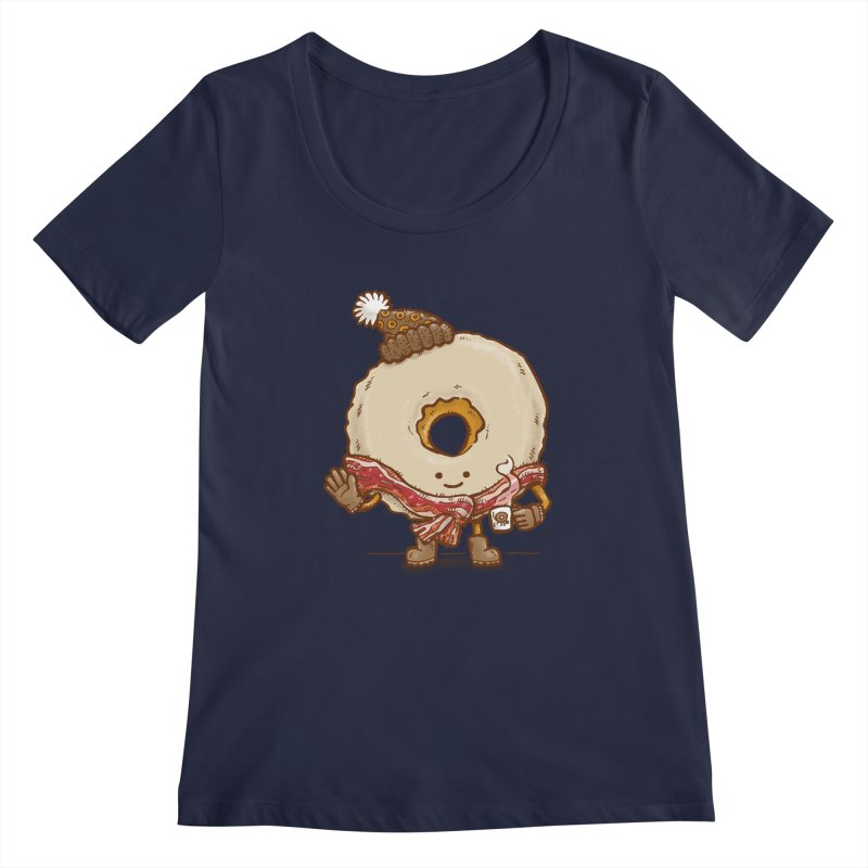Bacon Scarf Donut Women's Scoopneck by nickv47