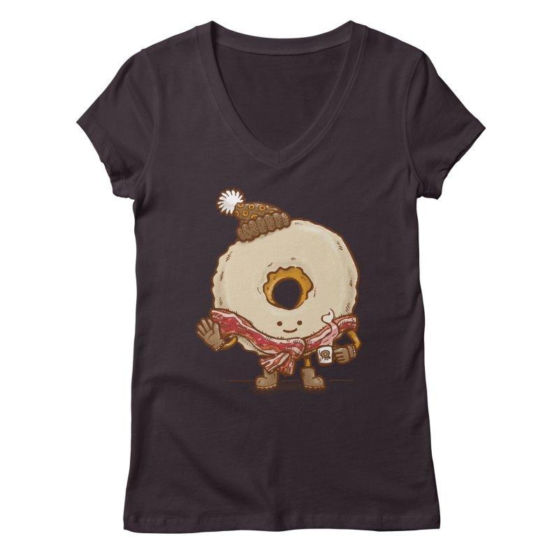 Bacon Scarf Donut Women's V-Neck by nickv47