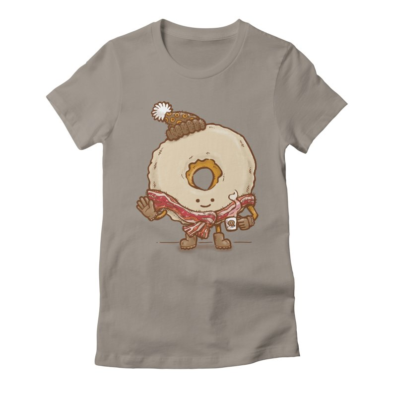 Bacon Scarf Donut Women's Fitted T-Shirt by nickv47