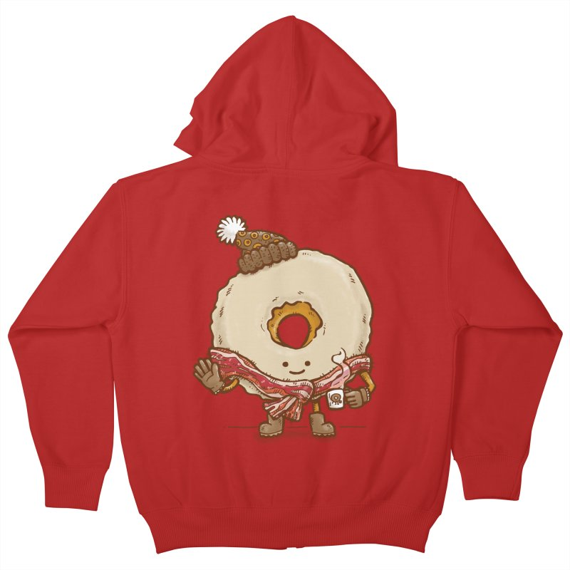 Bacon Scarf Donut Kids Zip-Up Hoody by nickv47