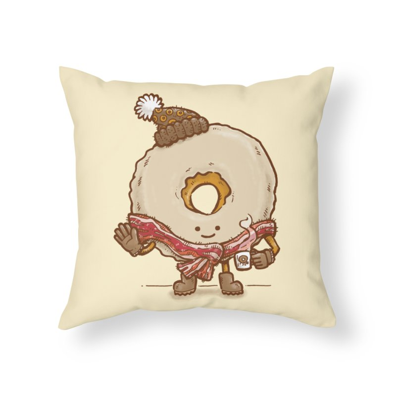 Bacon Scarf Donut Home Throw Pillow by nickv47