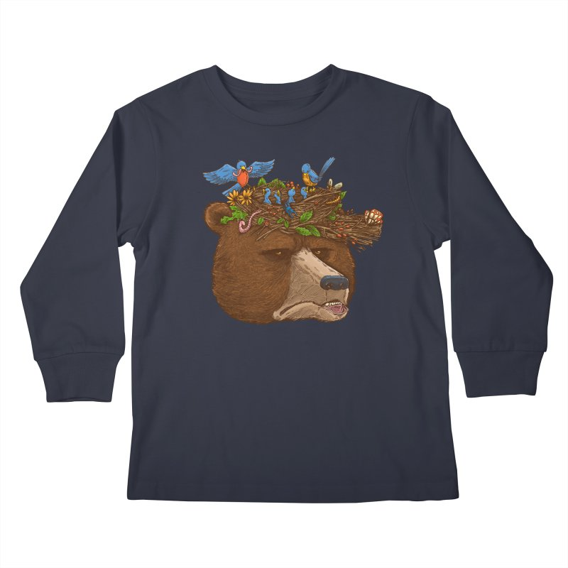 Mr Bear's Nature Hat 2017 Kids Longsleeve T-Shirt by nickv47