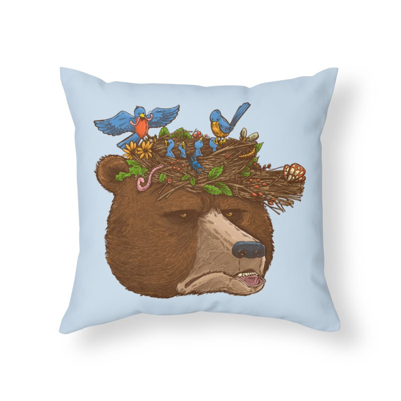 Mr Bear's Nature Hat 2017 Home Throw Pillow by nickv47