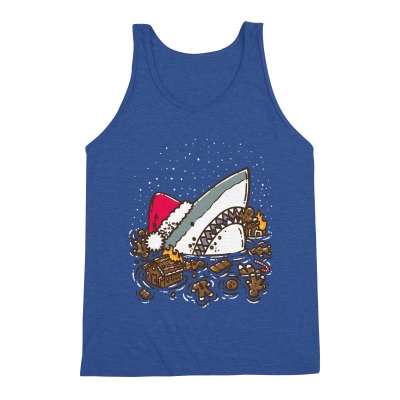 Gingerbread Destruction Shark Men's Tank by nickv47