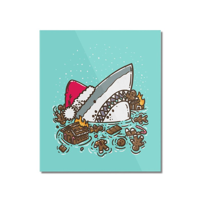 Gingerbread Destruction Shark Home Mounted Acrylic Print by nickv47