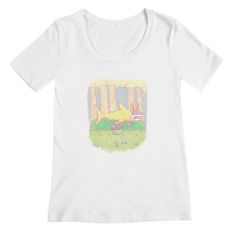 The Easter Bunny Shark Women's Scoopneck by nickv47