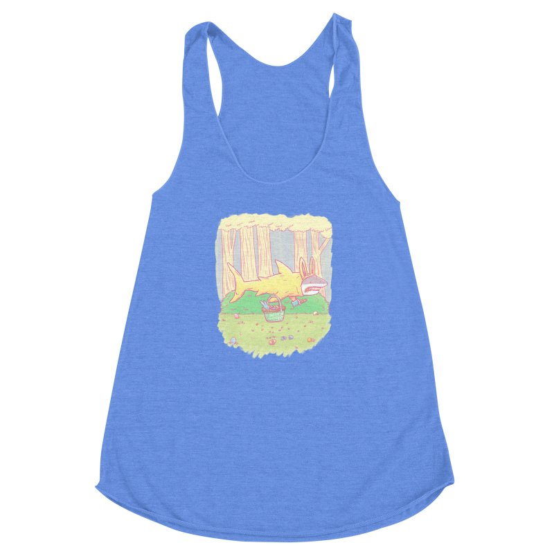 The Easter Bunny Shark Women's Racerback Triblend Tank by nickv47