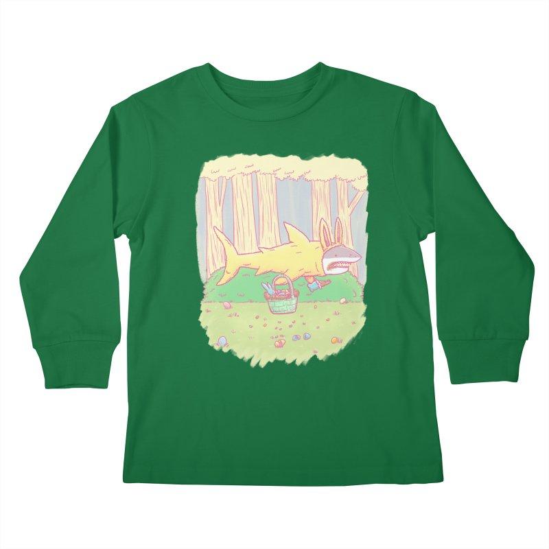 The Easter Bunny Shark Kids Longsleeve T-Shirt by nickv47