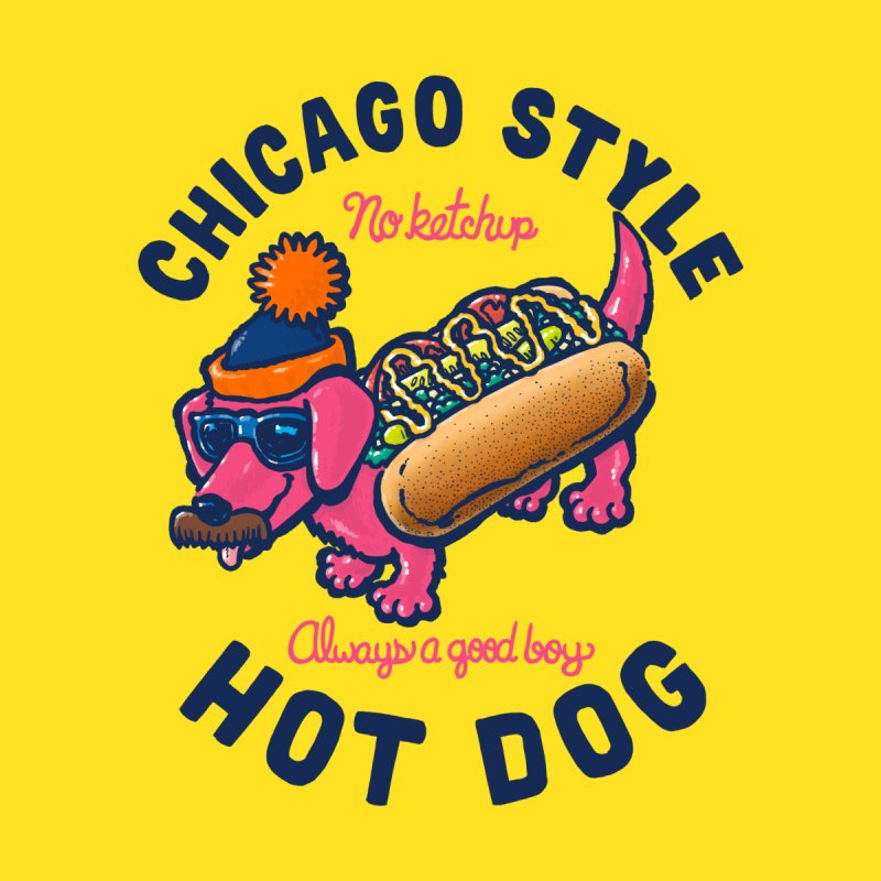 Da Chicago Dog With Text Men's T-Shirt by nickv47
