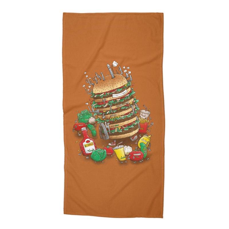 Uber BurgerBot Accessories Beach Towel by nickv47