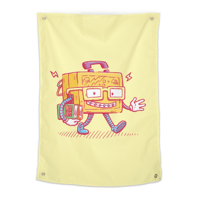 Lunch Pail Bot Home Tapestry by nickv47