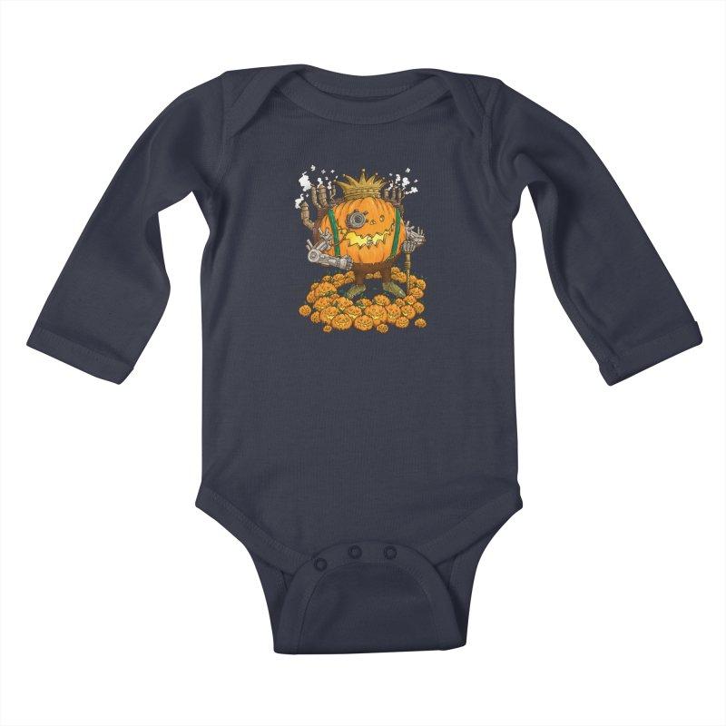 The Steampunk Pumpking Kids Baby Longsleeve Bodysuit by nickv47
