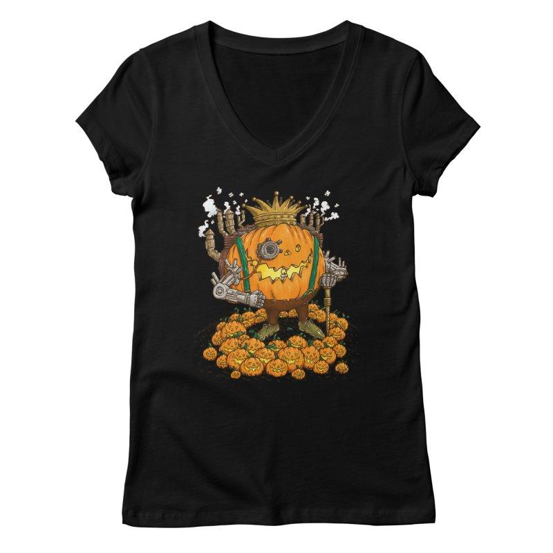 The Steampunk Pumpking Women's V-Neck by nickv47