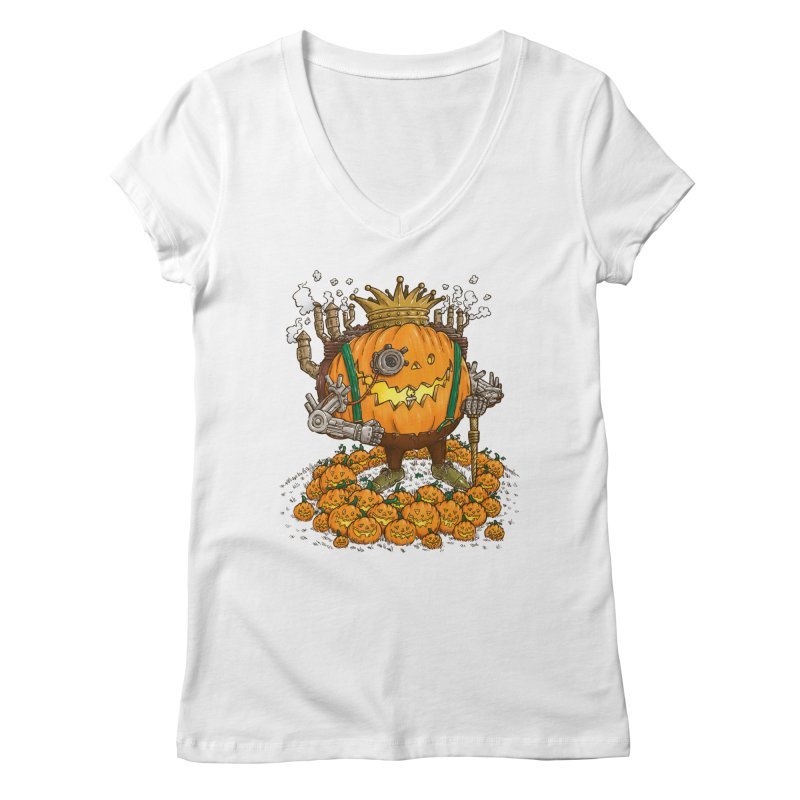 The Steampunk Pumpking Women's V-Neck by nickv47
