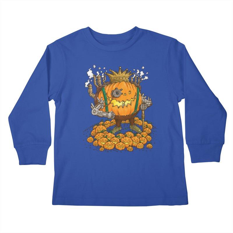 The Steampunk Pumpking Kids Longsleeve T-Shirt by nickv47