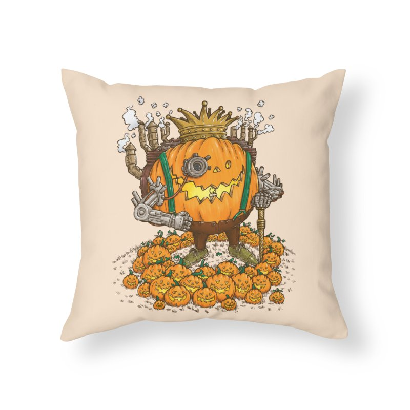 The Steampunk Pumpking Home Throw Pillow by nickv47