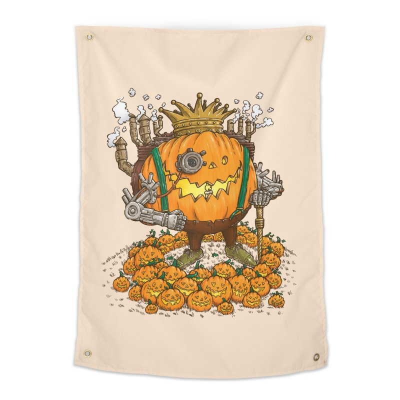 The Steampunk Pumpking Home Tapestry by nickv47