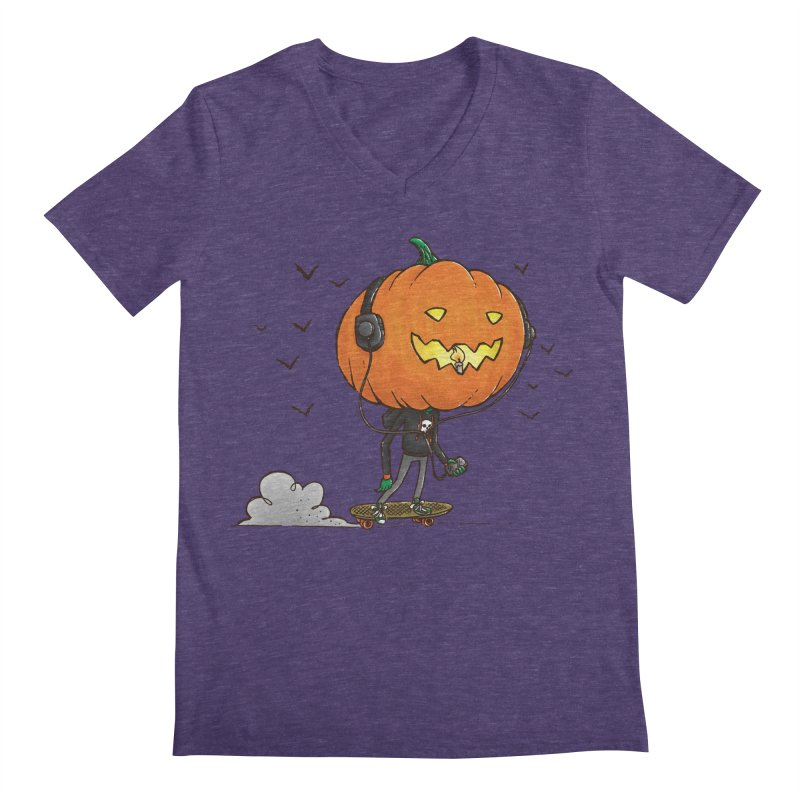 The Pumpkin Skater Men's V-Neck by nickv47