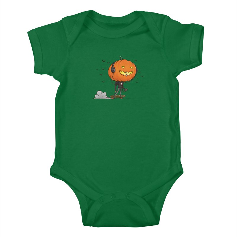 The Pumpkin Skater Kids Baby Bodysuit by nickv47