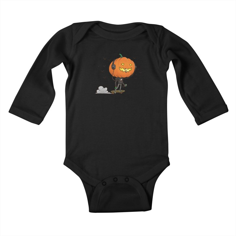 The Pumpkin Skater Kids Baby Longsleeve Bodysuit by nickv47