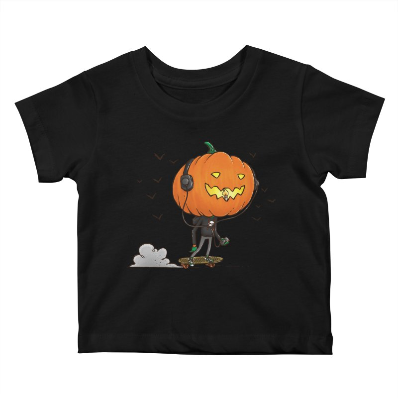The Pumpkin Skater Kids Baby T-Shirt by nickv47