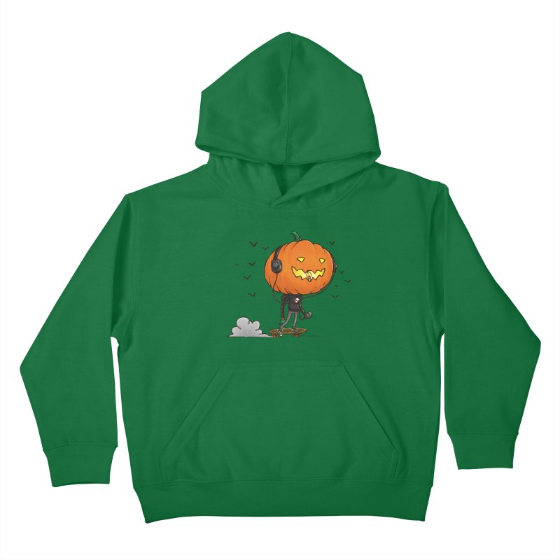 The Pumpkin Skater Kids Pullover Hoody by nickv47