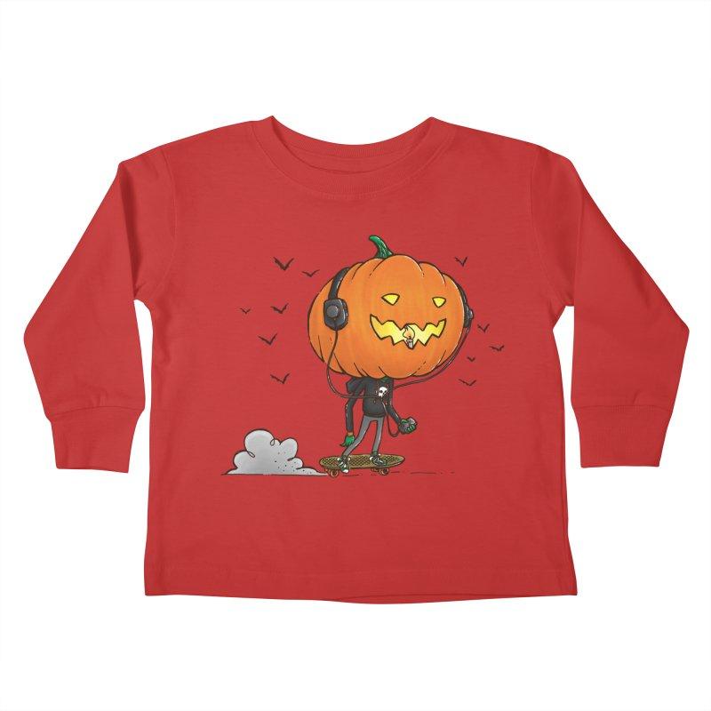 The Pumpkin Skater Kids Toddler Longsleeve T-Shirt by nickv47