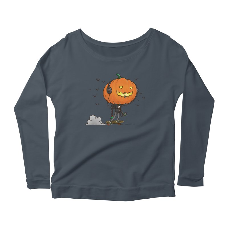 The Pumpkin Skater Women's Longsleeve Scoopneck  by nickv47