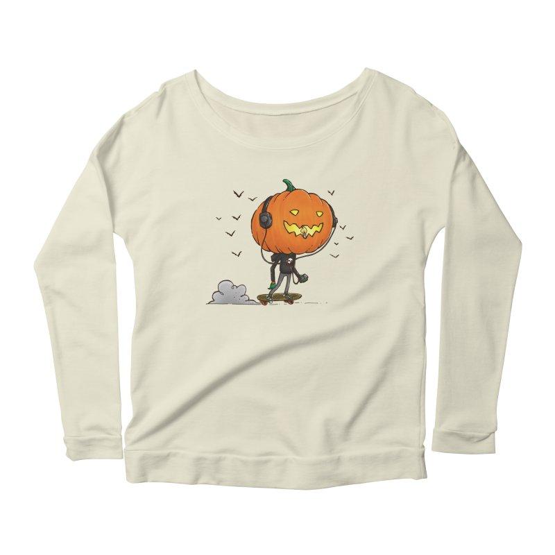 The Pumpkin Skater Women's Longsleeve Scoopneck  by nickv47