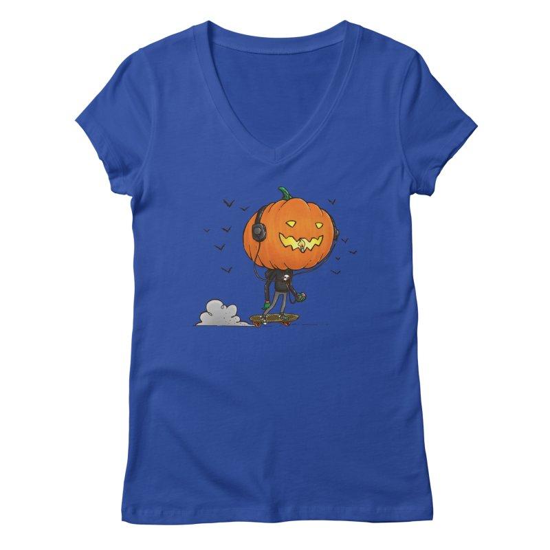 The Pumpkin Skater Women's V-Neck by nickv47