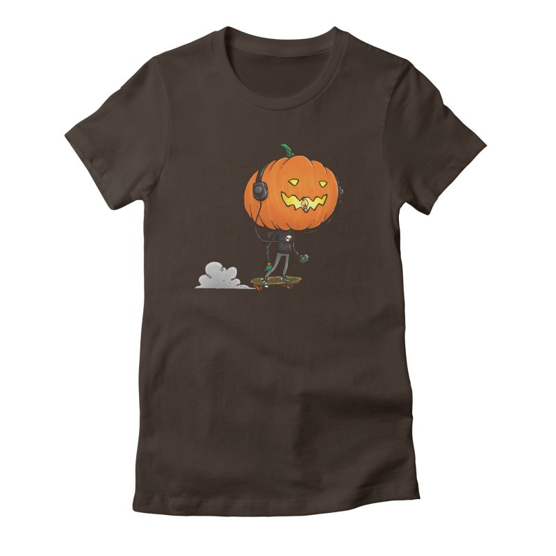 The Pumpkin Skater Women's Fitted T-Shirt by nickv47