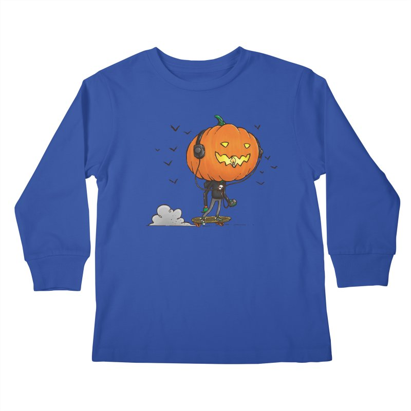 The Pumpkin Skater Kids Longsleeve T-Shirt by nickv47