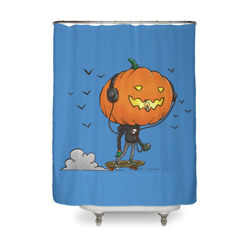 The Pumpkin Skater Home Shower Curtain by nickv47