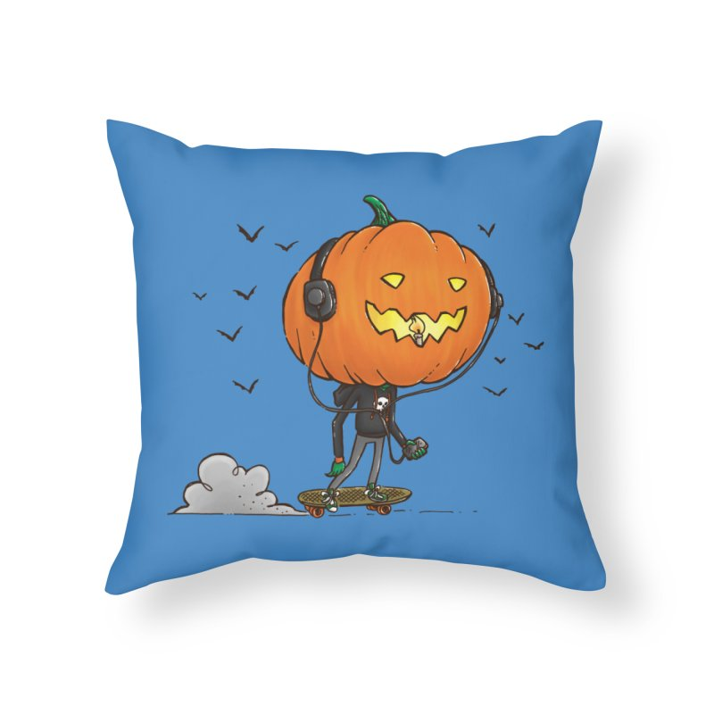 The Pumpkin Skater Home Throw Pillow by nickv47