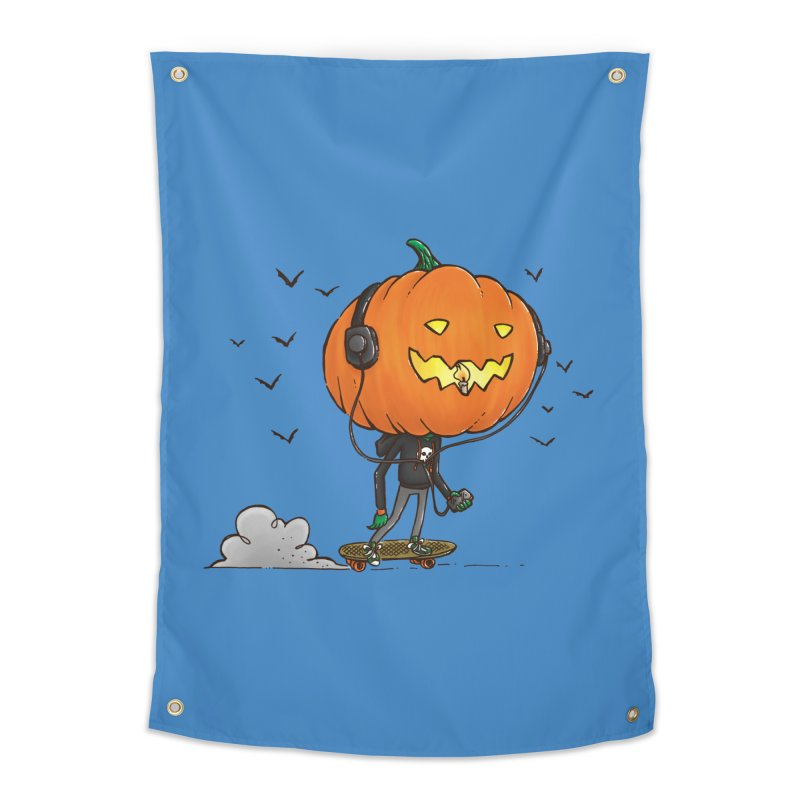 The Pumpkin Skater Home Tapestry by nickv47
