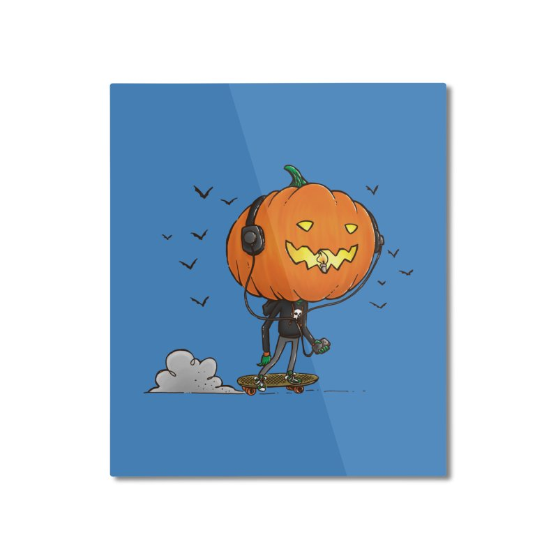 The Pumpkin Skater Home Mounted Aluminum Print by nickv47