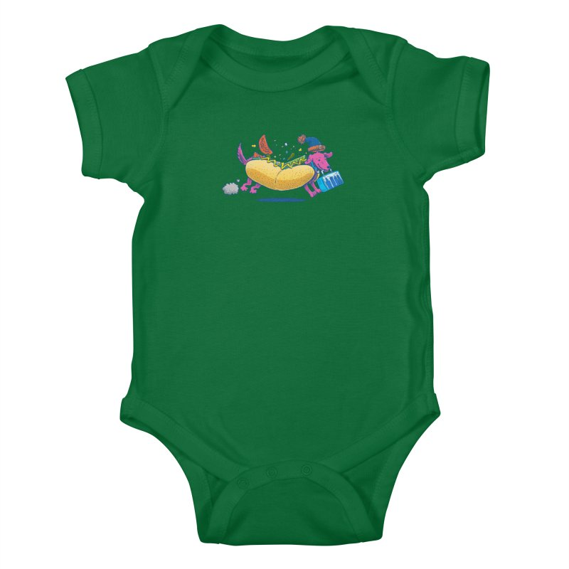 Chicago Dog: Lunch Pail Kids Baby Bodysuit by nickv47