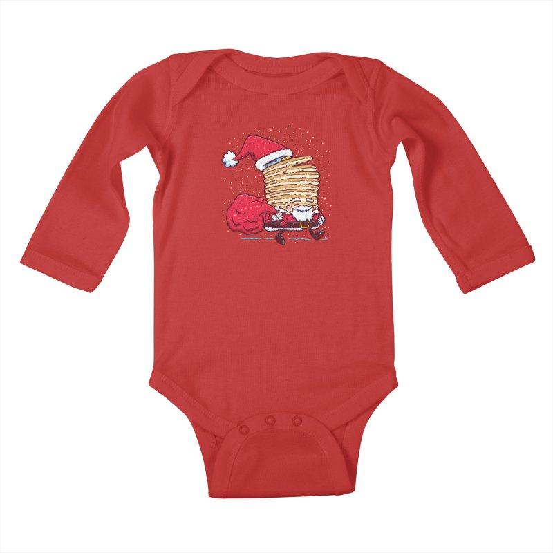 Santa Pancake Kids Baby Longsleeve Bodysuit by nickv47