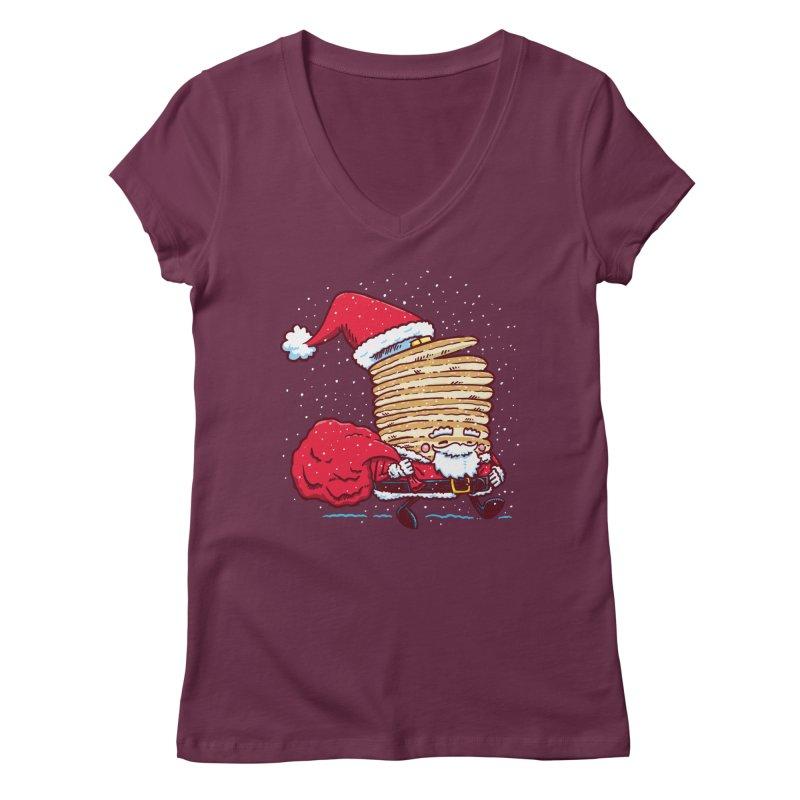 Santa Pancake Women's V-Neck by nickv47