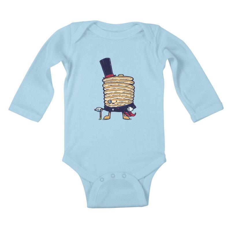 Fancy Captain Pancake Kids Baby Longsleeve Bodysuit by nickv47