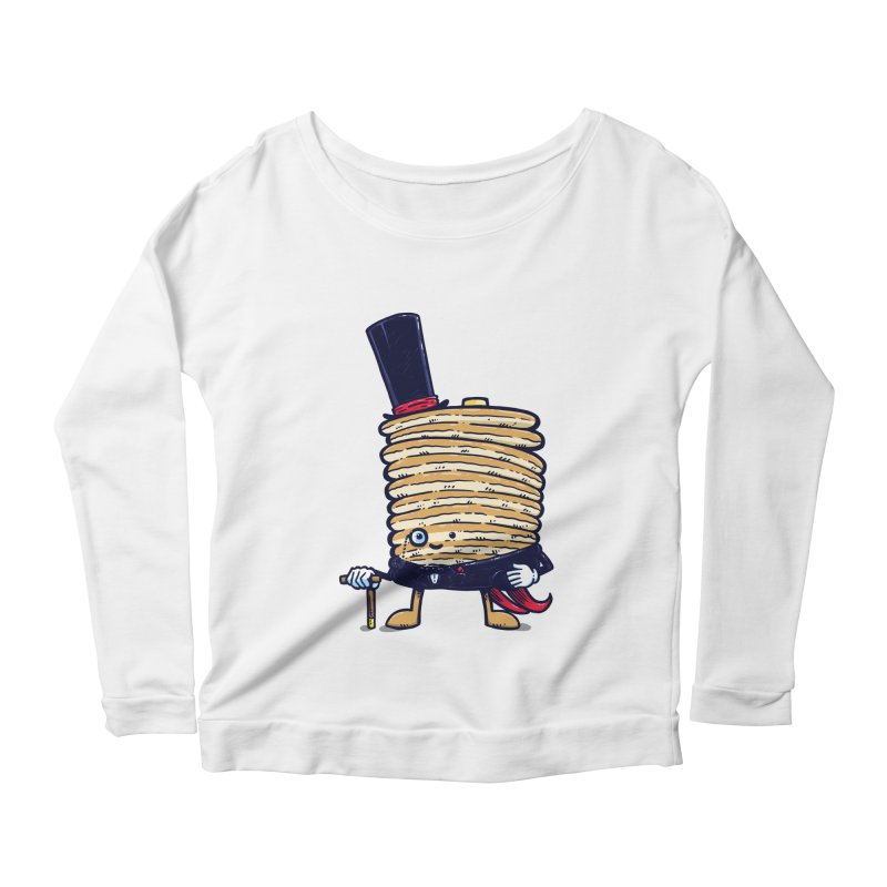 Fancy Captain Pancake Women's Longsleeve Scoopneck  by nickv47
