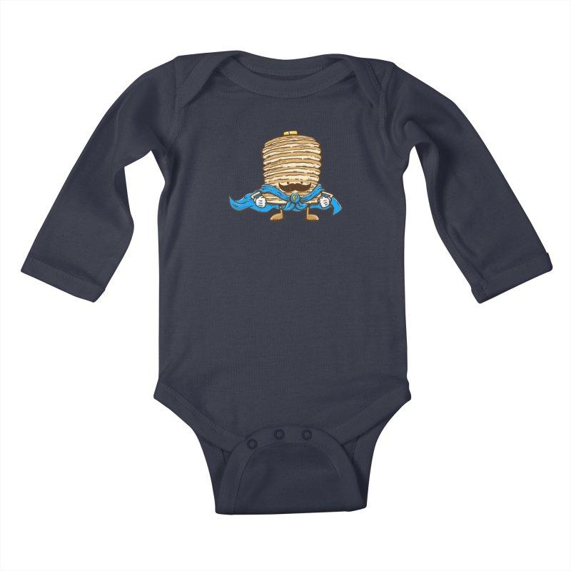 Captain Pancake's Mustache Kids Baby Longsleeve Bodysuit by nickv47