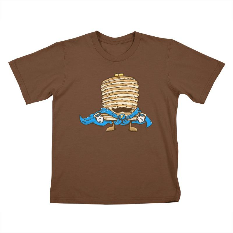 Captain Pancake's Mustache Kids T-Shirt by nickv47