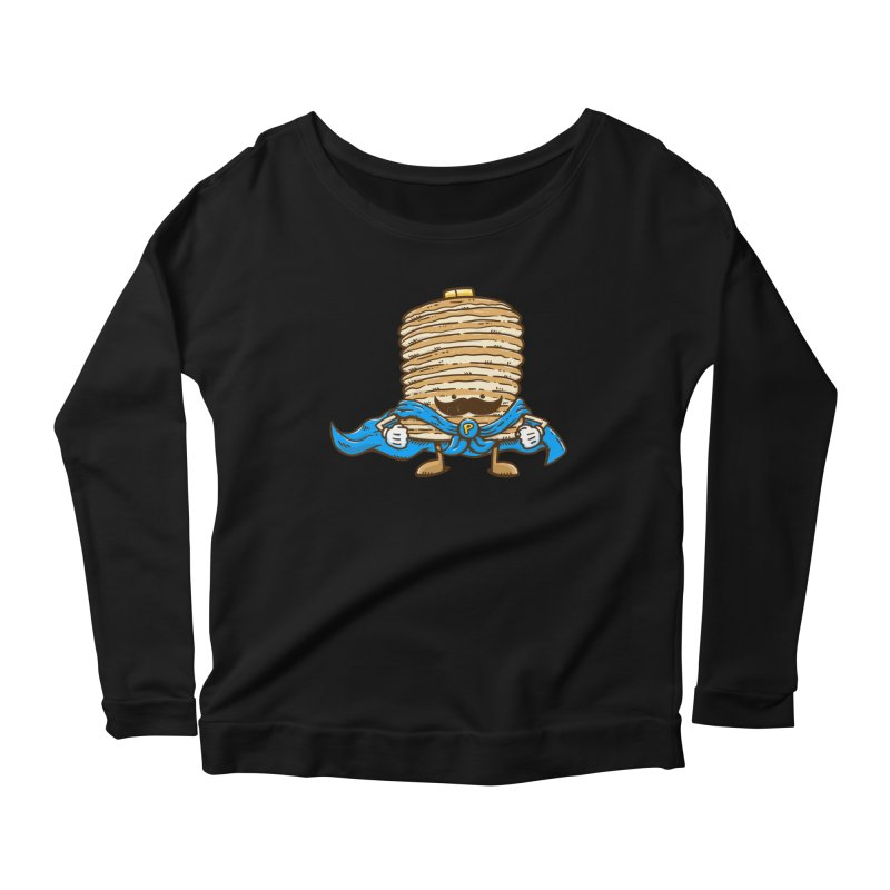 Captain Pancake's Mustache Women's Longsleeve Scoopneck  by nickv47